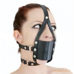PU Leather Bondage Restraints Head Harness Strap Muzzle Ball Gag