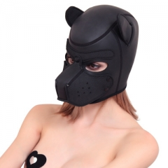 Bondage Gear Dog Hood Black Red Puppy Mask Muzzle for Sexual Play BDSM Erotic Costume
