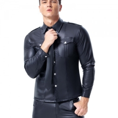 European and American sexy underwear men patent-leather performance shirt